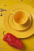 Saucers Posters - Yellow Cup And Plate Poster by Garry Gay