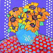 Color Purple Painting Framed Prints - Yellow Daisies Still Life Framed Print by Blenda Studio
