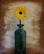 Glass Bottle Framed Prints - Yellow Daisy in a Bottle Framed Print by Marsha Heiken