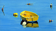 Buoys Prints - Yellow Dinghy and Buoy Reflections Print by EJ Lefavour