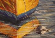 Docked Boat Painting Posters - Yellow Dingy Poster by Angela Sullivan