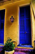 French Doors Framed Prints - yellow door with the Blues Framed Print by Michael Merilli