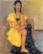 Full-length Portrait Painting Prints - Yellow Dress Print by Rita Bentley
