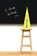 Classroom Prints - Yellow dunce hat on stool Print by Sandra Cunningham