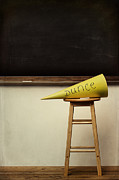Shame Posters - Yellow dunce hat on stool with chalkboard Poster by Sandra Cunningham