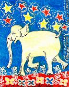 Yellow Ceramics Posters - Yellow elephant facing left Poster by Sushila Burgess