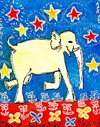 Yellow  Ceramics Posters - Yellow elephant facing right Poster by Sushila Burgess