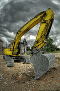 Ground Digital Art Prints - Yellow excavator Print by Jaroslaw Grudzinski