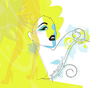 Featured Digital Art Metal Prints - Yellow Face Metal Print by Lisa Henderling