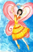 Sue Burgess Paintings - Yellow fairy ballerina Detail of Duck Meets Fairy Ballet Class by Sushila Burgess