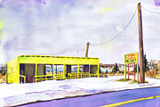 Winter Landscape Paintings - Yellow Farm Stand Winter Orient Harbor NY by Susan Herbst