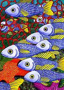 Animals Tapestries Textiles Originals - Yellow Fins by Catherine G McElroy