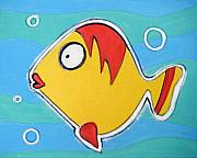 Hanging Pastels Originals - yELLOW fISH by Mara Morea