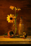 Aged Art Posters - Yellow flower still life Poster by Sandra Cunningham