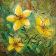 Gina Gray Paintings - Yellow Flowers by Gina De Gorna