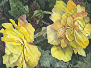 Green Leafs Originals - Yellow Flowers by Natasha Denger