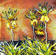 Gold Lame Painting Metal Prints - Yellow flowers Metal Print by Odon Czintos