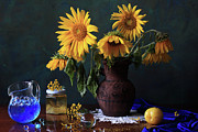 Fruit Arrangement Prints - Yellow Flowers Print by Panga Natalie Ukraine