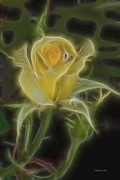 Fractalius Framed Prints - Yellow Fractalius Rose Framed Print by Deborah Benoit