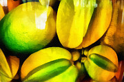 Lemon Art Posters - Yellow Fruits. Lemon and Carambola. Impressionism Poster by Jenny Rainbow