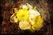 Yellow Gerbera Daisy And White Rose Bridal Bouquet In Nature Setting Print by Cindy Singleton