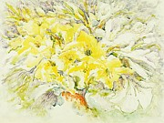 Gladiolas Painting Prints - Yellow gladiolas Print by Edi Holley