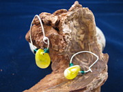 Fun Jewelry - Yellow Glass Sparkle Earrings by Deborah Haste