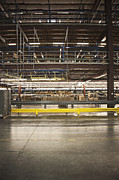 Packaged Posters - Yellow Guardrail in a Warehouse Poster by Jetta Productions, Inc