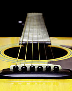 Country Digital Art Metal Prints - Yellow Guitar 17 Metal Print by Andee Photography