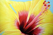 Hawaiin Framed Prints - Yellow Hibiscus Framed Print by Adam Johnson