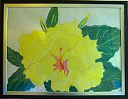 Floral Drawings Originals - Yellow Hibiscus by Audrey Thompson