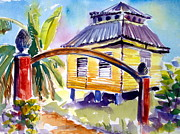 Puerto Rico Paintings - Yellow House by Barbara Richert