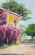 Impressionistic Oil Paintings - Yellow House by Dorate Muller