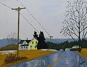 Maine Painting Framed Prints - Yellow House in March Framed Print by Laurie Breton