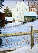 Stockton Pastels Prints - Yellow House in Winter Print by Bob Richey