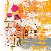 Monoprint Framed Prints - Yellow House Framed Print by Linda Woods
