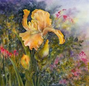 Passionate Paintings - Yellow Iris with Bleeding Hearts by Kathy Harker-Fiander