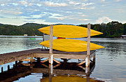 Yellow Kayaks Print by Susan Leggett