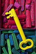 Material Life Framed Prints - Yellow key on chalk Framed Print by Garry Gay