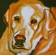 Retriever Drawings Posters - Yellow Lab Amazing Grace Poster by Susan A Becker