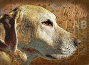 Rug Digital Art Acrylic Prints - Yellow Lab Dog Acrylic Print by Wendy Presseisen
