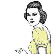 Lady Artwork Drawings Prints - Yellow Lady Print by Karl Addison