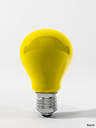 Ligth Bulb Digital Art Prints - Yellow Lamp Print by BaloOm Studios