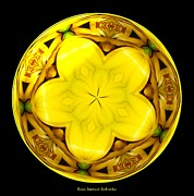 Florals Art - Yellow Lily Kaleidoscope under glass by Rose Santuci-Sofranko