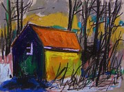 Farm Pastels - Yellow Line Barn by John  Williams