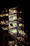Nyc Fire Escapes Photos - Yellow Lit Stairs by James McDowell