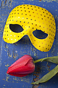 Costume Photos - Yellow mask and red tulip by Garry Gay