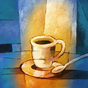 Coffee Art Prints - Yellow Morning Cup Print by Lutz Baar