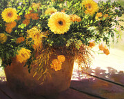 Mums Paintings - Yellow Mums by Linda Jacobus