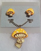 Alice In Wonderland Jewelry - Yellow Mushrooms by Kristin Lewis